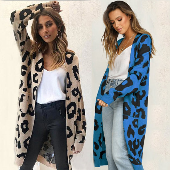 Women's Clothing - Autumn Winter Leopard Print Long Cardigans