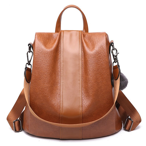 Kaaum Ladies' Anti Theft Vintage Leather Backpack