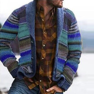 Men's Autumn And Winter Colored Stripped Printed Long-sleeved Coat Wear