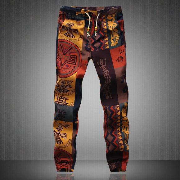 Fashion Spring Summer Men Floral Print Joggers