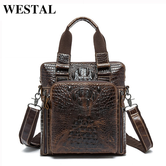 Fashion Alligator Pattern Genuine Leather Shoulder Bags