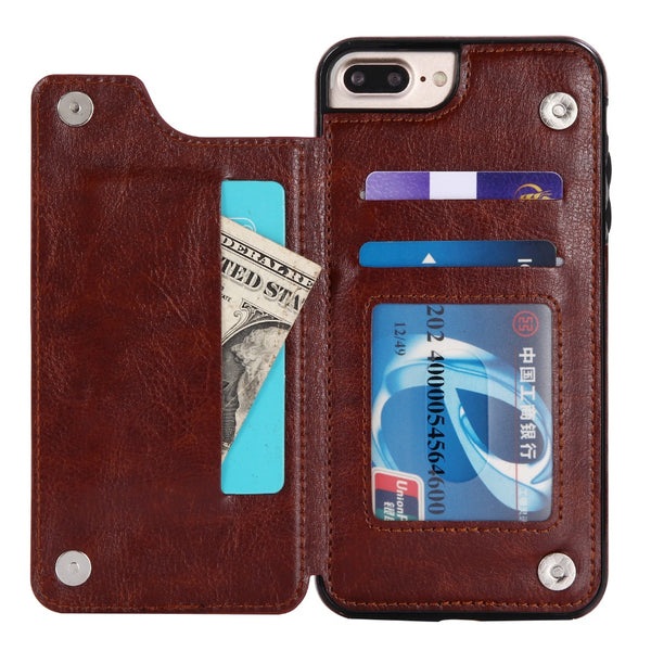 Retro PU Leather Case For iPhone X 8 7 6 6s Plus Multi Card Holders Case Cover