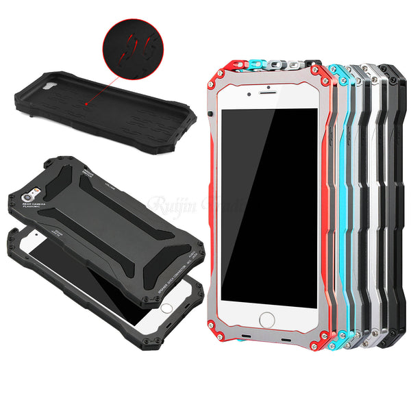 Phone Case - Waterproof Shockproof Metal Aluminum Armor Hard Case For iPhone + Tempered Glass