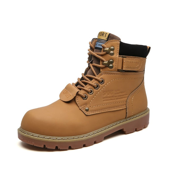 Men Work Boots Outdoor Autumn Leather Waterproof Boots