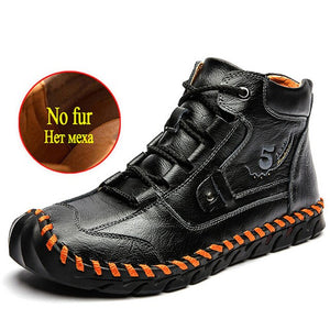 Kaaum Waterproof Leather Men's Motorcycle Boots