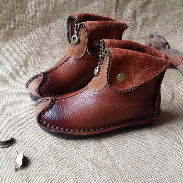 Handmade Women Brown Leather Boots