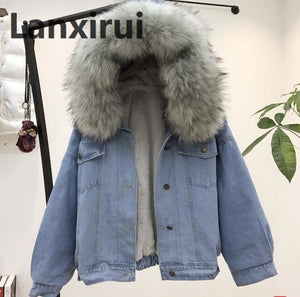 Winter Fleece Hooded Warm Denim Jacket Coat