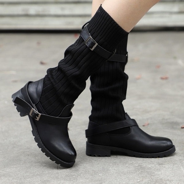 2018 Women Vintage Buckle Strap Comfort Leather Boots