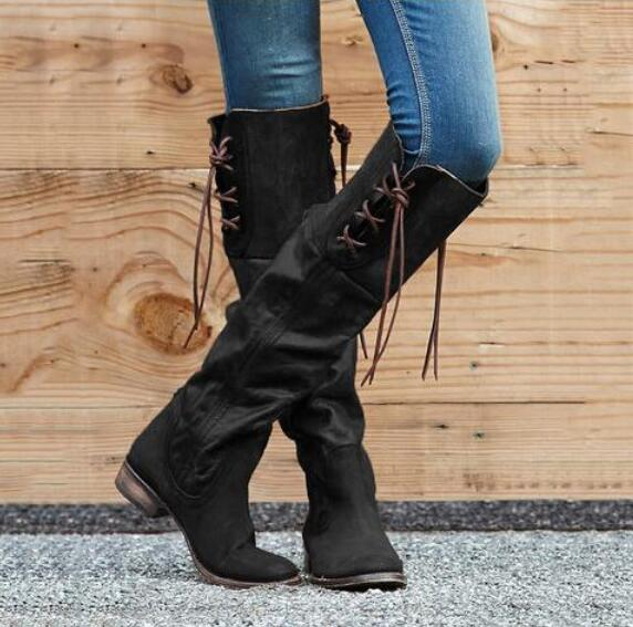 Women's Shoes - 2019 New Women Gladiator Vintage Leather Boots