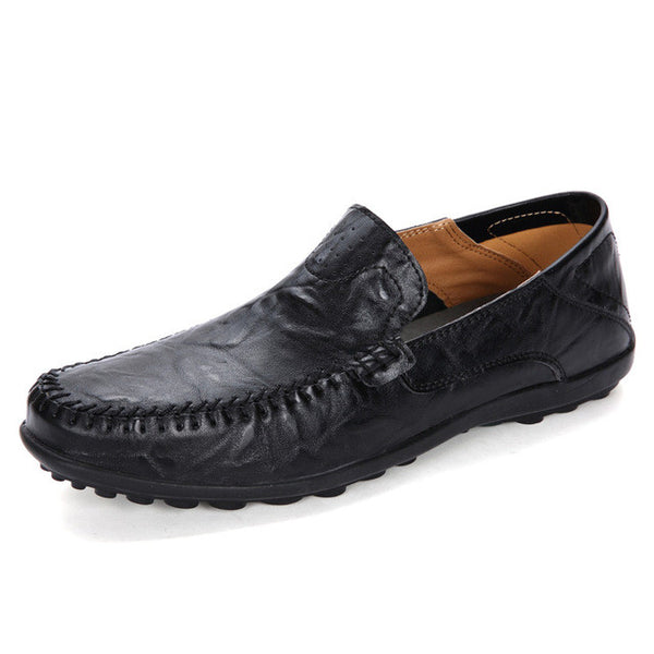 Shoes - Plus Size Genuine Leather Men Flats Breathable Causal Shoes