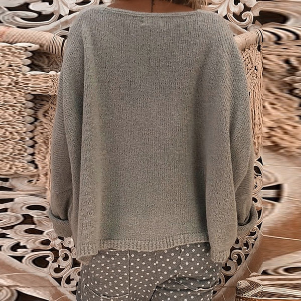 Women's Clothing - Women's Casual Loose Deep V Neck Sweater(Buy 2 Got 5% off, 3 Got 10% off Now)