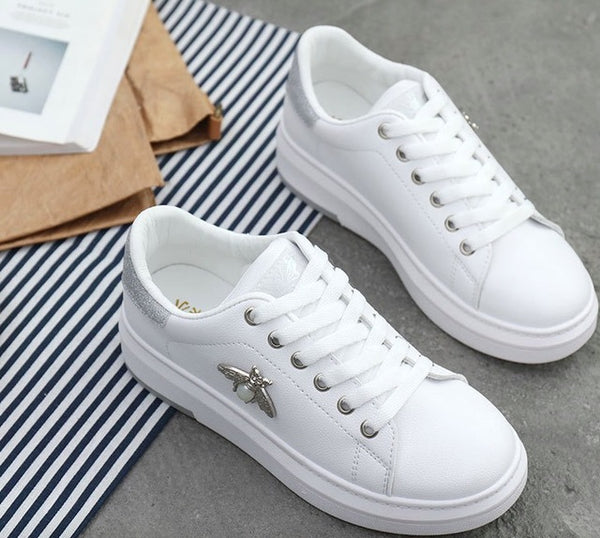 Kaaum-2020 Women Casual New Fashion Breathable PU Leather Platform White Shoes