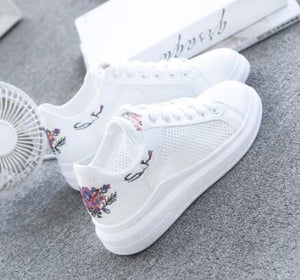 Women's Shoes - 2019 Embroidered Breathable Hollow Lace-Up Women's Sneakers