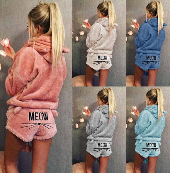 Women's Clothing - Cute Fluffy Long Sleeve Two Piece Hoodie Women's Sets(Buy 2 Got 5% off, 3 Got 10% off Now)