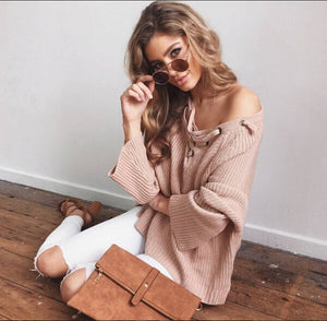 Sexy Solid Knitted Pullovers Casual Sweaters