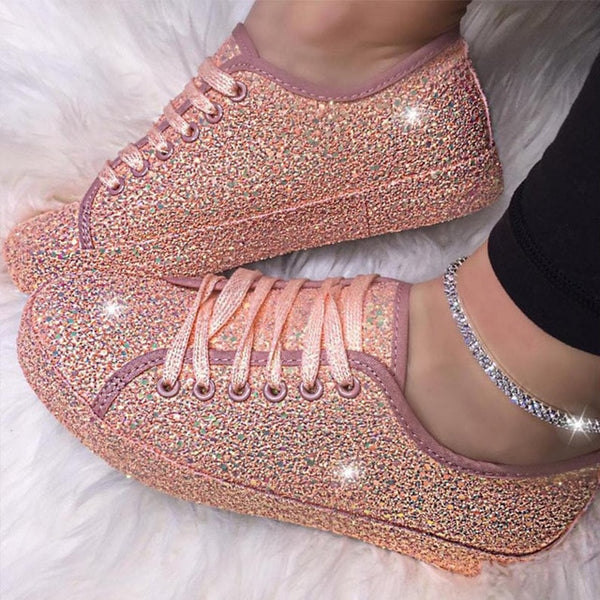 Kaaum-2020 Women Flat Glitter Canvas Sneakers Casual Mesh Lace Up Bling Shoes