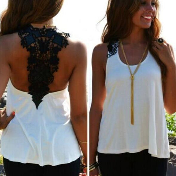 Clothing - 2019 Sexy Summer Plus Size Crochet Lace Back Tank Top
