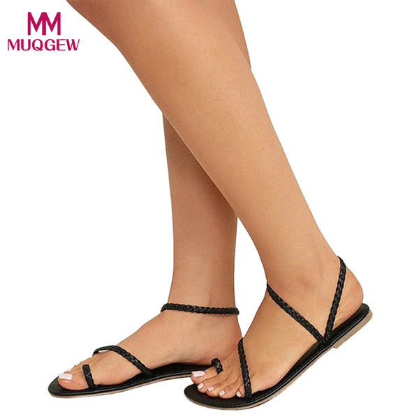 Women's Sandals - Ladies Strappy Gladiator Low Flat Heel Flip Flops Beach Sandals