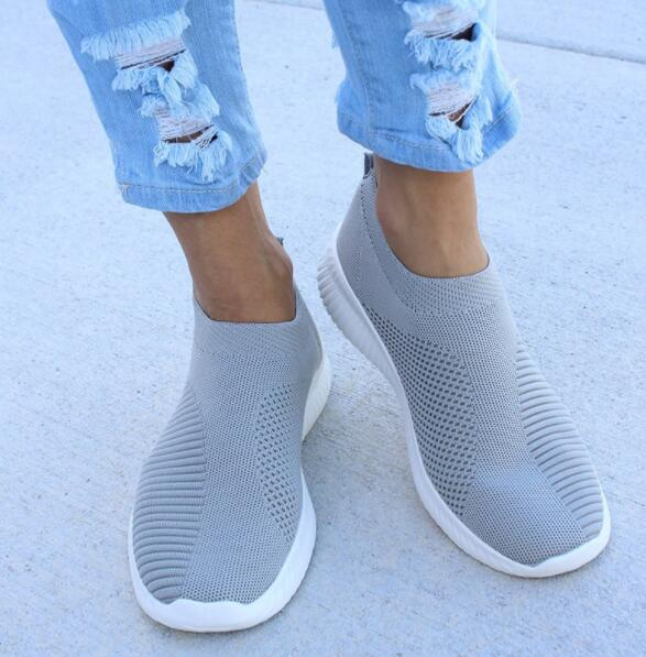 Shoes - Women's Knitted Soft Walking Sneakers