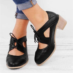 2019 New Spring Women Brogue Casual Flock Bottom Lace Up Shoes