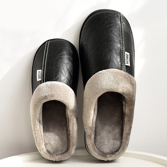 Kaaum Winter Home Slippers Leather Waterproof Non Slip
