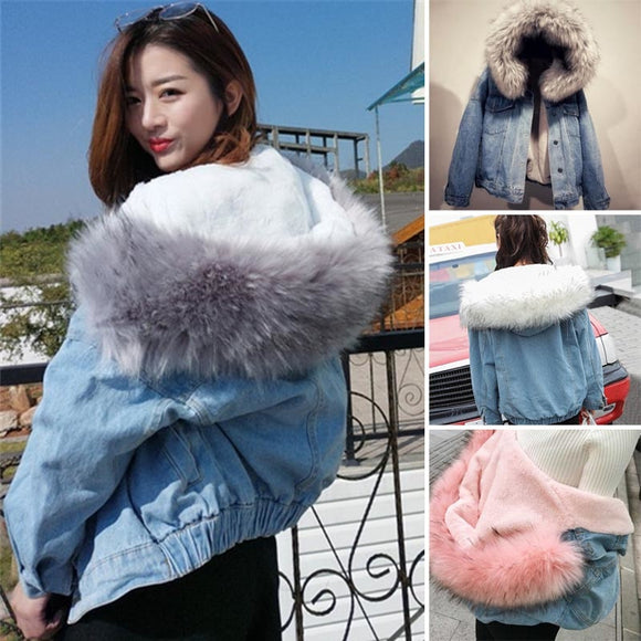 Winter Warm Faux Fur Collar Casual Jacket