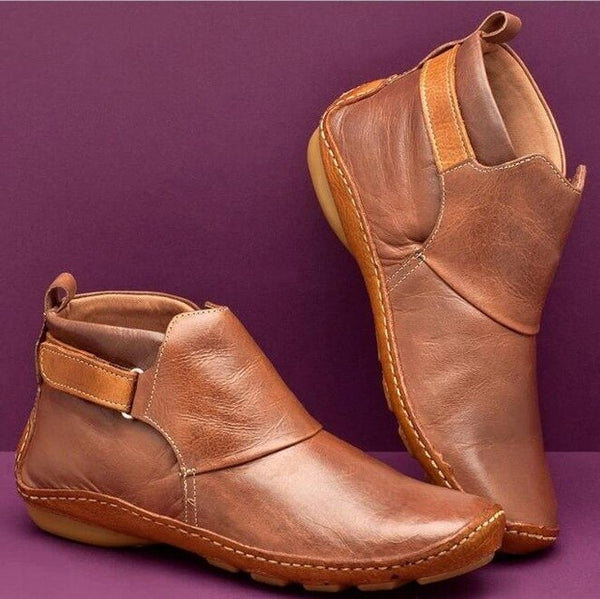 Shoes - Autumn Vintage PU Leather Round Toe Women Ankle Boots
