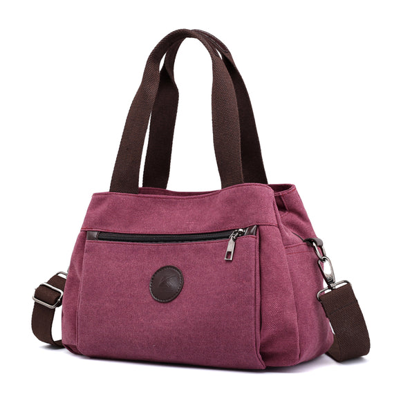 Bag -  Vintage Solid Multi-pocket Canvas Handbags