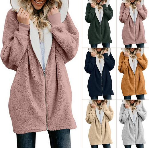 Women's Clothing - Zipper Cashmere Solid Sweet Long Sleeve Hoodie Teddy Bear Coats(Buy 2 Got 10% off, 3 Got 20% off Now)