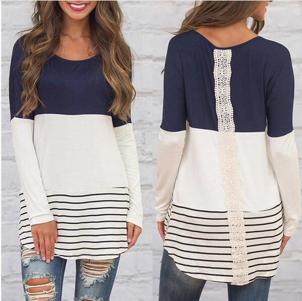 Women's Clothing - 2018 Fashion Women's Striped Back Lace Blouse