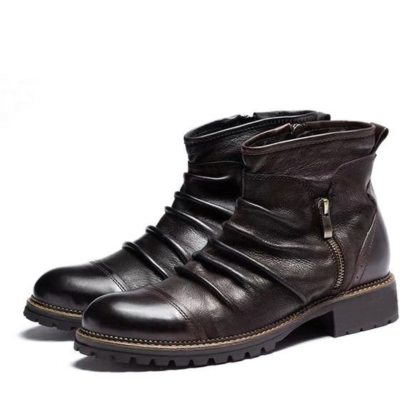 Men Leather Boots Fashion Retro Zipper Ankle Booties(Buy 2 Got 10% Off, 3 Got 15% Off)