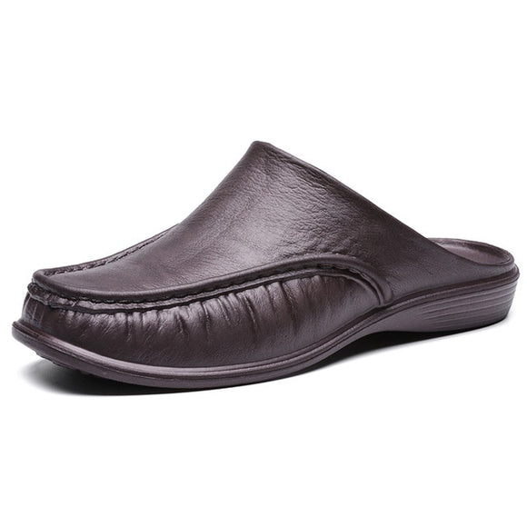 Men Pure Color PU Leather Backless Slippers Casual Shoes