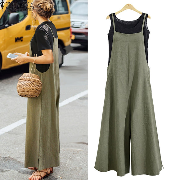 Summer Ladies Casual Jumpsuit Long Suspender Overalls Bib Pants