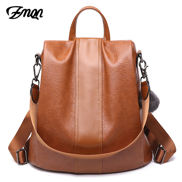 Bags & Wallets - Ladies' Anti Theft Vintage Leather Backpack