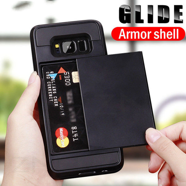 Phone Case - Luxury Armor Slide Card Holder Full Cover Phone Case For Samsung Galaxy S9/S8 Plus Note 8/9