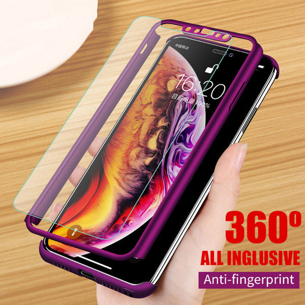 Phone Case - Luxury 360 Degree Full Cover Protection Shockproof Phone Case With Free Gift Screen Protector For iPhone