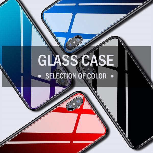 Luxury Gradient Color Tempered Glass Case For iphone 6 6s 7 8 Plus X