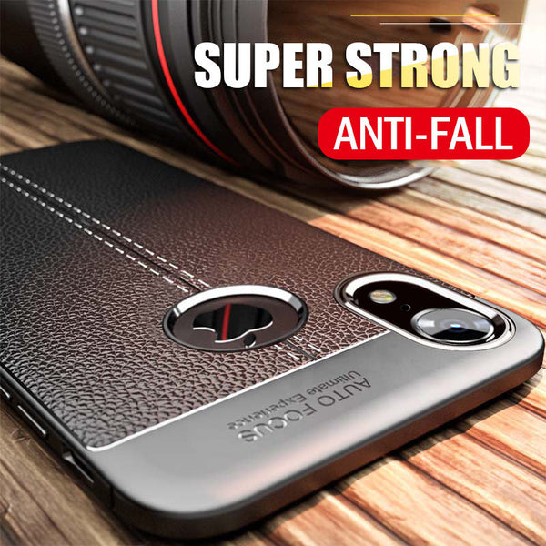 Phone Case - Luxury Litchi Leather Silicone Shockproof Case For iPhone X/XR/XS/XS Max 8 7 6S 6/Plus