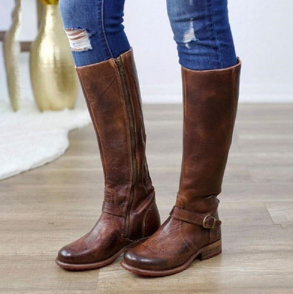 Women Vintage Leather Buckle Knee High Riding Boots