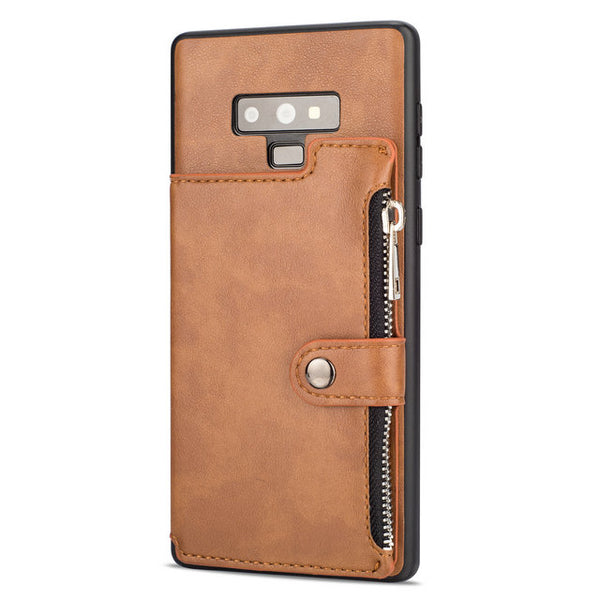 brand new d5866 47d2a Zipper Wallet Leather Flip Case For Samsung Galaxy S8 S9+ Note 8 9