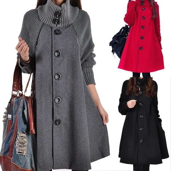Kaaum Windbreaker Loose Autumn Winter Warm Wool Coat