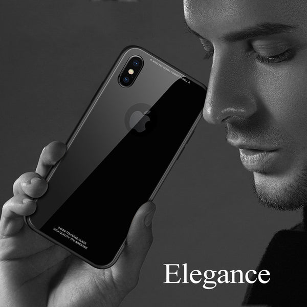 Phone Case - Luxury Soft Silicone Bumper Ultra Thin 9H Tempered Glass Case For iPhone X 8/7 Plus