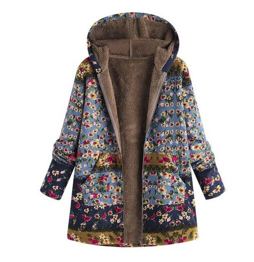 Women's Clothing - Ethnic Printed Faux Fur Hooded Fleece Autumn Winter Coat(Buy 2 Got 10% off, 3 Got 20% off Now)