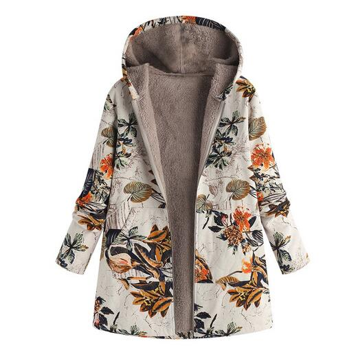 Women's Clothing - Vintage Leaves Floral Print Hooded Long Sleeve Coats(Buy 2 Got 10% off, 3 Got 20% off Now)