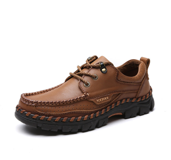Men Genuine Leather Square Toe Lace Up Outdoor Walking Shoes