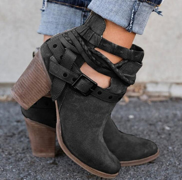 Women's Shoes - Flocking Casual Adjustable Buckle Ankle Boots