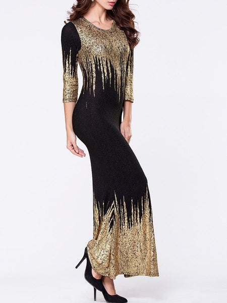 Clothing - Round Neck Bronzing Split Maxi Dress