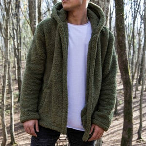 Kaaum Men winter plush warm casual coat hoodies