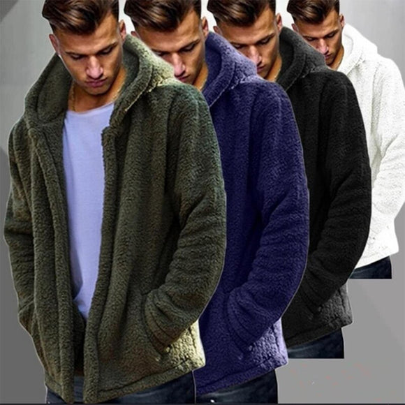 Men winter plush warm casual coat hoodies