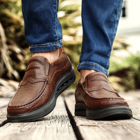 Kaaum-Men Soft Moccasins High Quality Spring Summer Genuine Leather Shoes